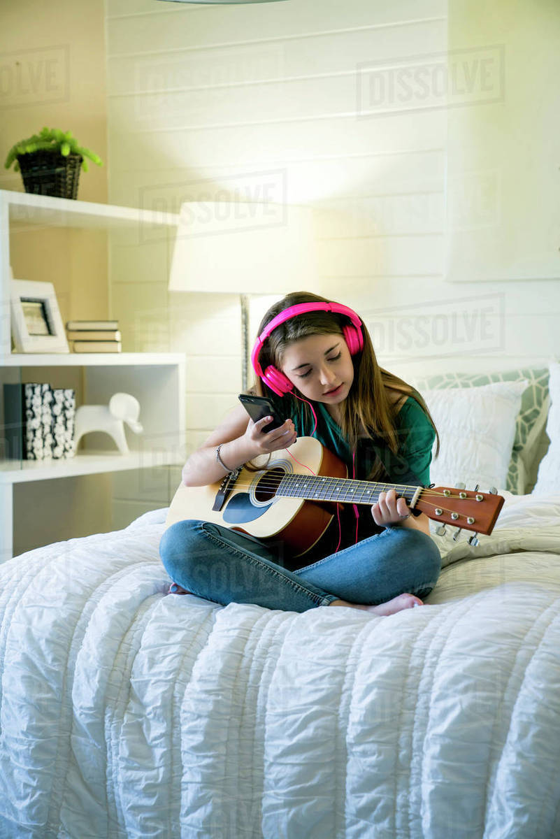 teenage girl listening music