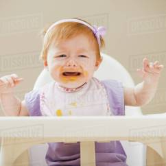 Baby Girl Chair Revolving Executive Caucasian Crying In High Stock Photo Dissolve