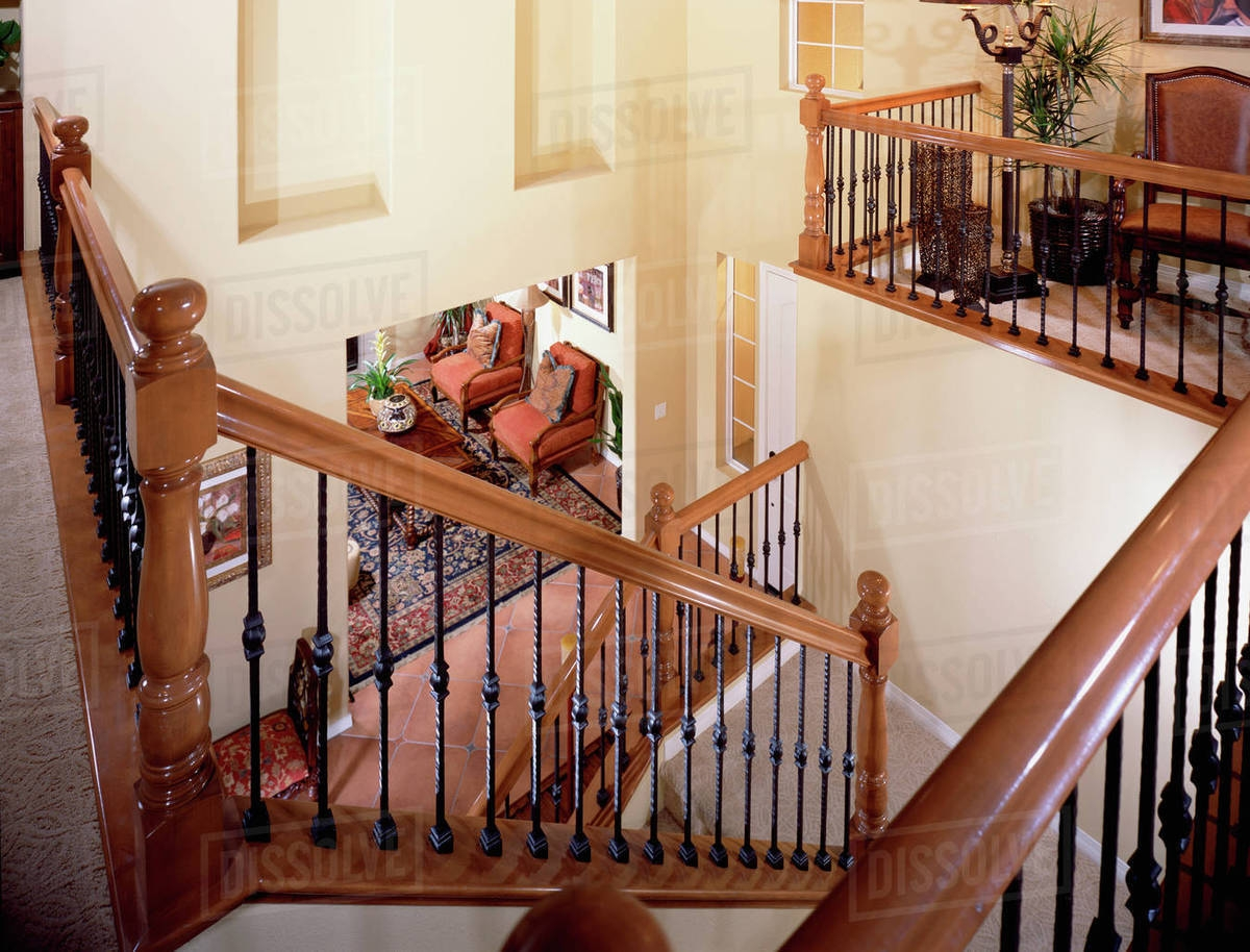 High Angle U Shaped Staircase With Railing Stock Photo Dissolve   U Shaped Staircase Design   Round Shape   Traditional   House   Tiny   L Shaped