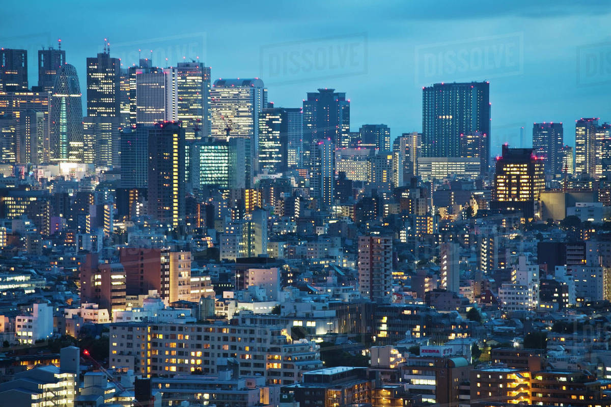 downtown tokyo skyline at