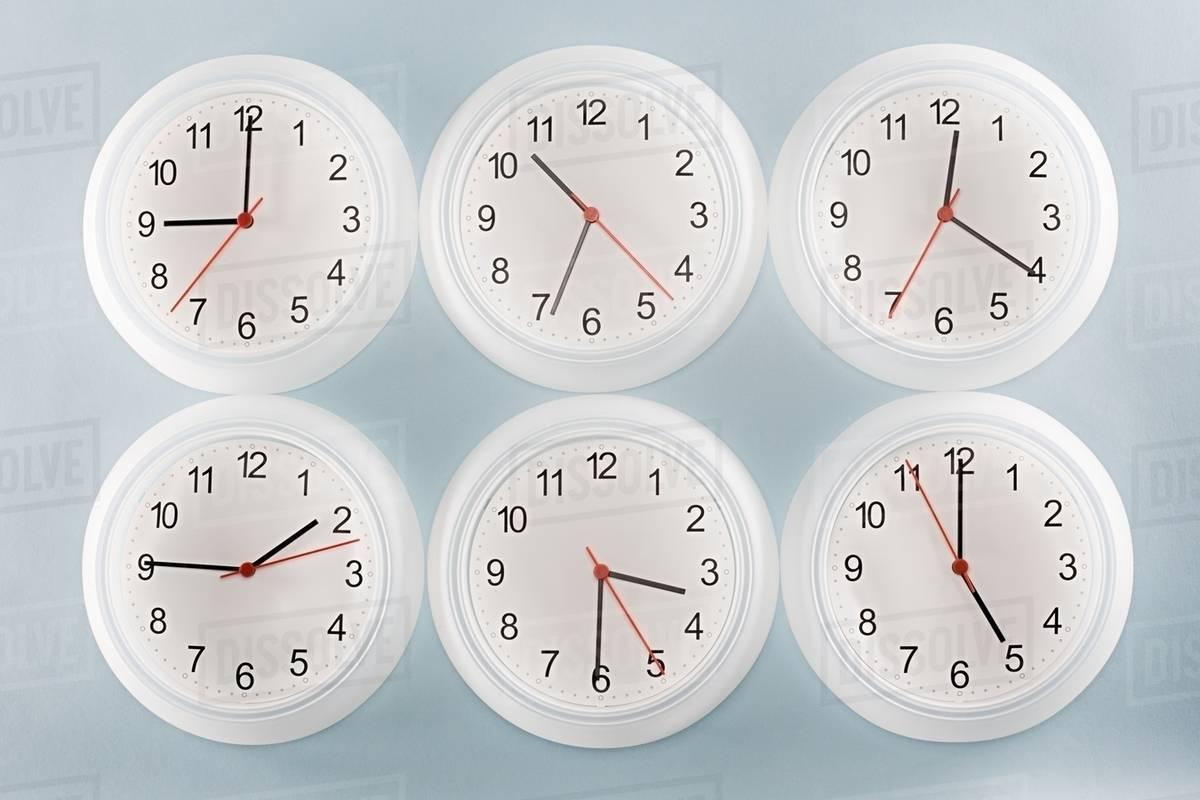 six clocks stock photo