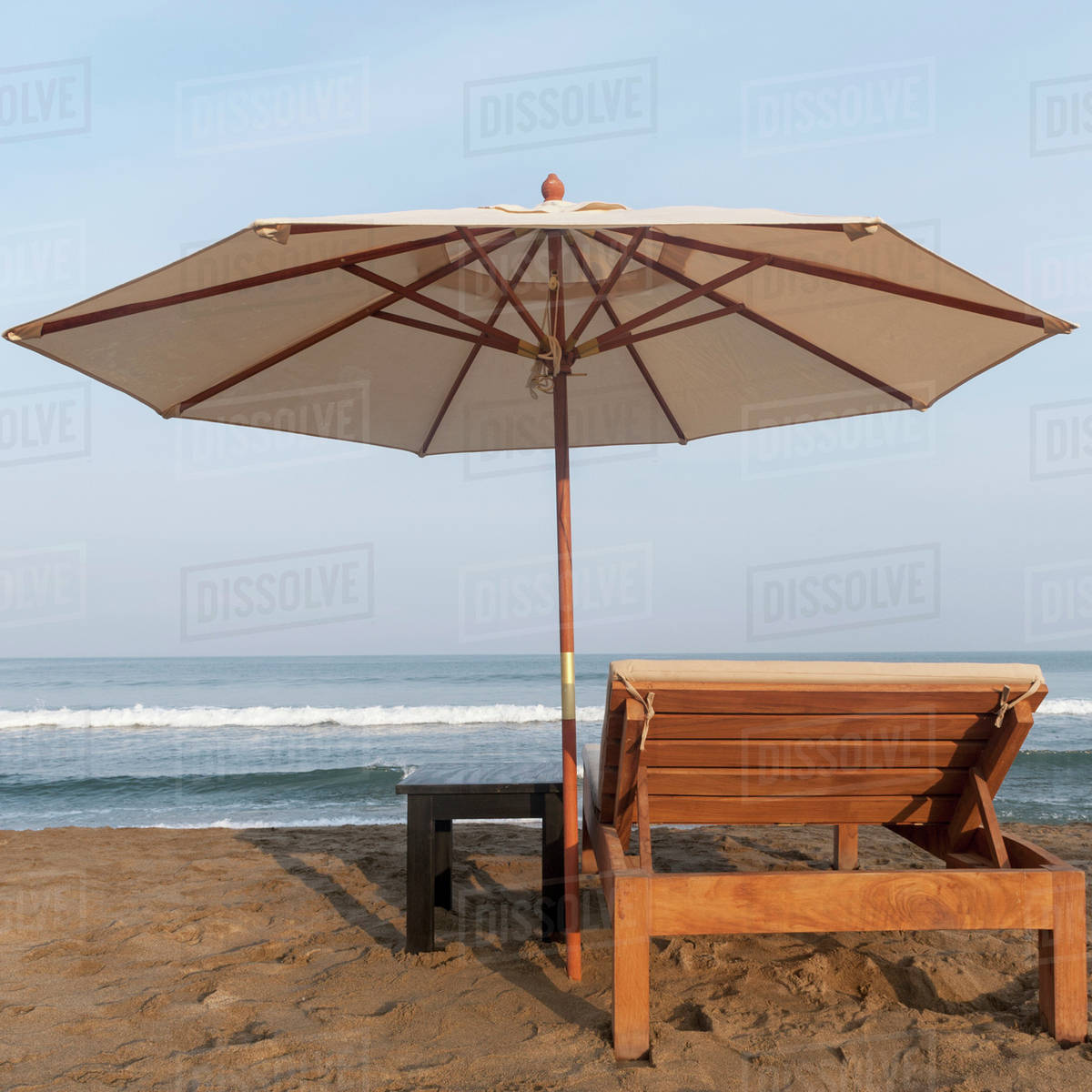 Chair With Umbrella A Lounge Chair And Umbrella On The Beach At The Water S Edge Sayulita Mexico Stock Photo