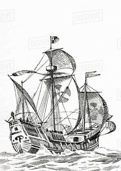 A 15th century carrack, a three masted sailing ship used