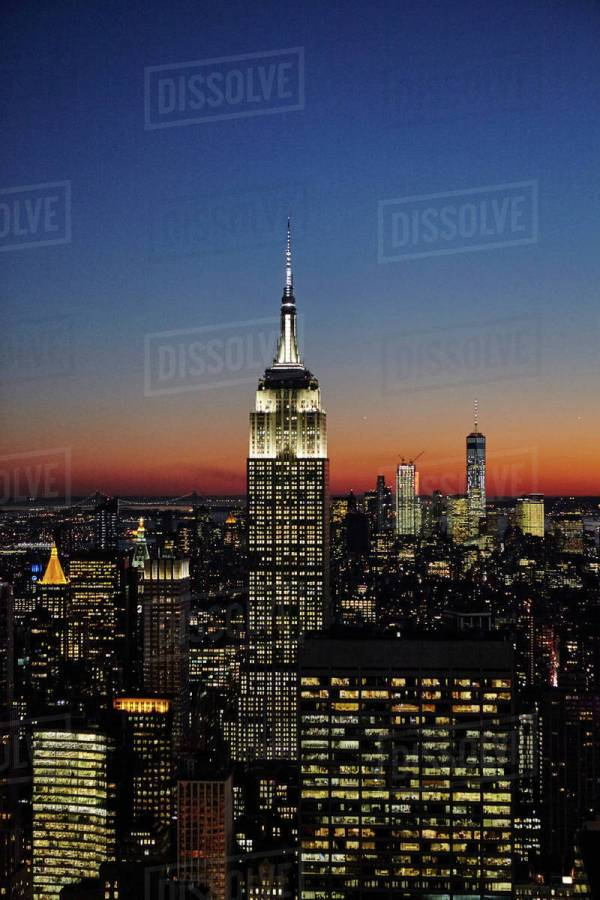 Elevated View Of Empire State Building Night York City Usa - Stock Dissolve