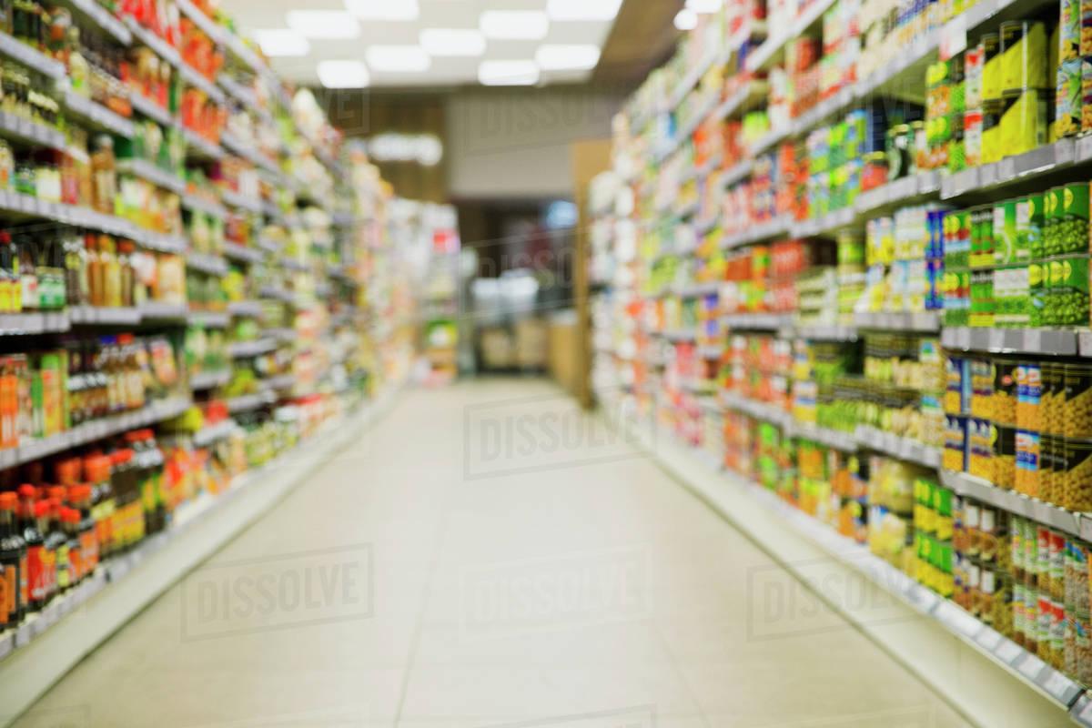 defocussed view of grocery