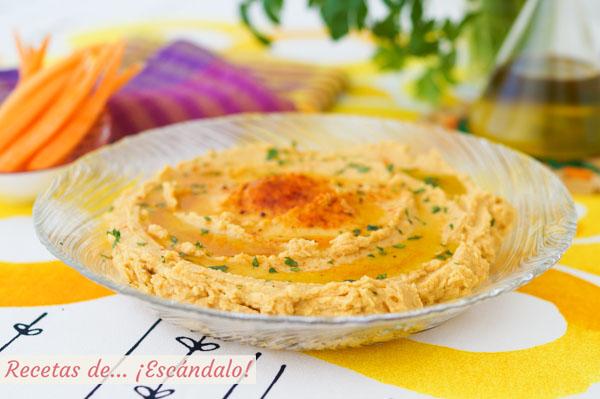 Receta de hummus de garbanzos o pure de garbanzos, facil y riquisimo