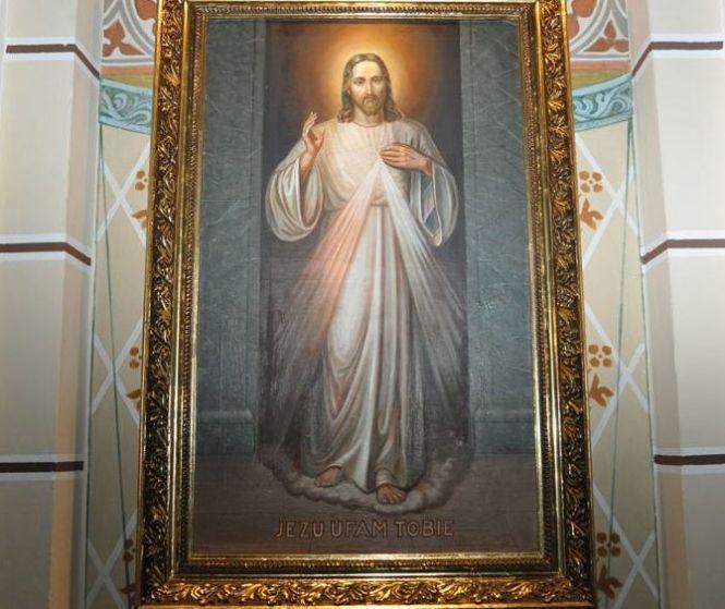 Obraz Jezusa Miłosiernego autorstwa Adolfa Hyły w Szczecinku
