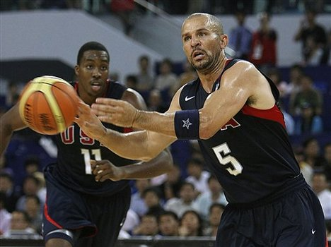 Jason Kidd of USA men's basketball team for the Beijing 2008 Olympics (5) passes the ball