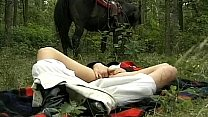 Bokep horny wife in forest threesome