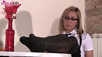 Sexy blonde schoolgirl gives a great shoeplay show with her ballet flats, then takes them off and lets you enjoy her perfectly shaped feet in black dotted hold up stockings.