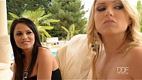 Bokep College sister Aida Sweet and Lucy Heart devour a cock outdoors