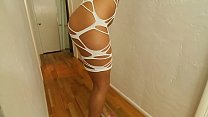 Bokep sexy white shredded dress