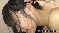 Small tits amateur Japanese teen squirts getting fingered and sex with a creampie finish
