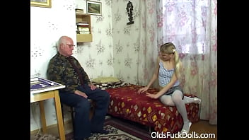 Cute blonde Gwen Cortez seduced and banged by old grumpy Mireck