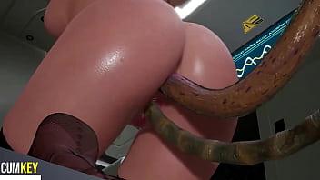 Big Ass Slut Fuck with Tentacles   3D Hentai   Lovecraft FallenDoll