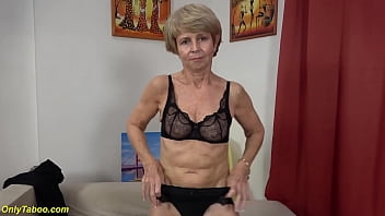 extreme skinny 75 years old granny in sexy nylon stockings toying her old wet shaved cunt first time for my porn cam