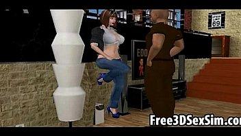 Sexy 3D cartoon brunette sucking on a hard cock