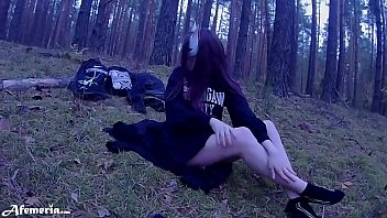 Masked Brunette Fucked Good in the Woods and Sucked Dick Deep