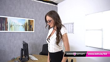 Office girl Tina plays with her pussy on the desk in stockings