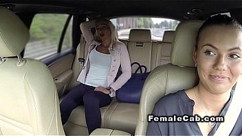 Bokep Married blonde has lesbians sex in fake taxi