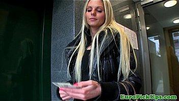 Porno Bokep Hot blonde euro babes bj for some cash