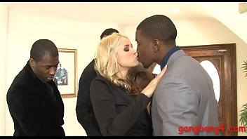 Gorgeous blondie whore Sarah Vandella gets her pussy and butthole screwed by black boners