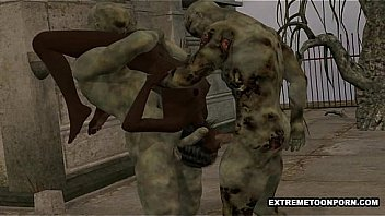 3D ebony babe double teamed outdoors by some zombies