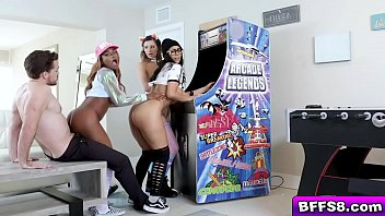 Horny arcade gals get down on their knees and start sucking the studs big pink joystick cock!