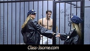 Horny blondes bangs a handsome male in the jail