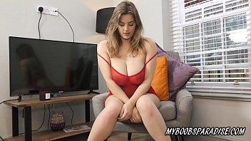 Big tits babe Lottie Rose in red lingerie masturbate