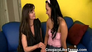 Busty older lesbian cougar undresses and makes out young flat tiny slut