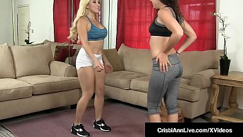 Young Asian Latina Cristi Ann & Curly haired Brunette Victoria Monet can't finish their workout because they need to dildo bang their pussies together with this double headed toy that they proceed to scissor fuck until they cum!
