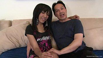 Ebony teen with big nipples fucks an older Asian man