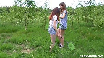 Amateur teens eating their twats outdoors