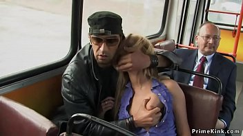Clamped nipples blonde slave fucked in public bus till gets facial cumshot in front of passengers