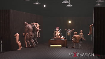 Gangbang in gloryhole! Men fuck young slaves on expensive villa in the middle of the sea