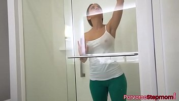 Amazing and beautiful stepmom MILF with big ass and nice tits cleaning the shower before stepson comes and fucks her tight pussy