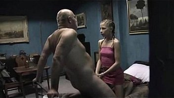 Young girl riding older hairy guy