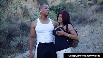 Mexican Big Nipples Milf Gabby Quinteros, strolls in the park with her ebony man but she is so horny she needs his big black cock inside her Latina Mouth & Pussy asap for some good ole' American Black Dick Pounding!