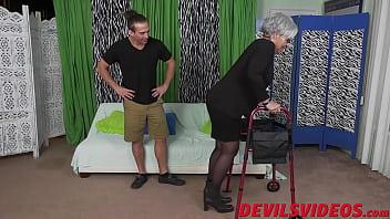 Bokep Naughty granny makes young guy hard