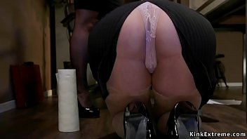 Boss lesbian lawyer Bella Rossi made hot blonde big ass employee Summer Day cleaning floor and then whipped her ass
