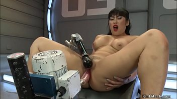 Big tits brunette Asian beauty Mia Little solo with spreaded legs fucks machine and vibrates clit then rides Sybian and doggy style machine again