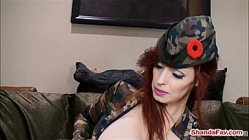 Canada's naughtiest MILF Shanda Fay loves to get banged. Here she is a naughty army babe in stockings giving a BJ and getting fucked until she gets cum on her pussy. Meet her at ShandaFay.com!