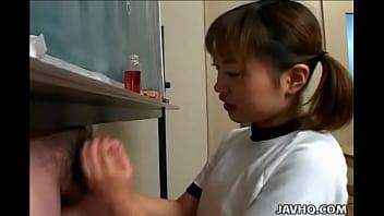 Bokep Japanese cutie Itsuki Wakana wanks a hard dick uncensored