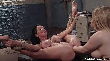 Natural huge tits blonde mistress Aiden Starr gets rimjob from big fake tits brunette lesbian Milf slave Veronica Avluv then fists her pussy and ass in bondage