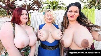 Massive Titty Trio, Angelina Castro, Samantha 38G & Trinity Guess suck, fuck & milk a big black cock in this hot curvy foursome! Full Video & Angelina Castro Live  AngelinaCastroLive.com!