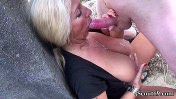 German Big Tits Mom Catch StepSon and Made him Cum with a Fuck Outside
