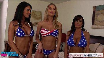 3 american girls fuck one white cock