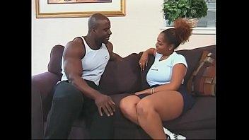 Bokep Bald black stud fucks busty black bitch's hairy snatch indoors
