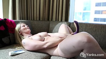 Superb blondie with pink nipples from Yanks Summer Knight fucking her two dildos to orgasm